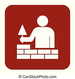 couche, carreleur, trowe, ouvrier, maçon, brique