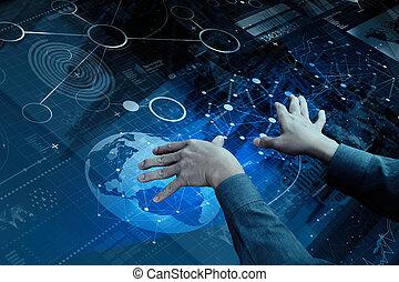 couche, concept, business, fonctionnement, sommet, moderne, effet, main, numérique, homme affaires, stratégie, technologie, vue
