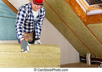 couche, concept, minéral, grenier, -, installation, toit, thermique, isolation, utilisation, laine, rénovation, panels., homme