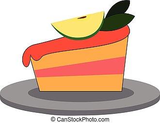 couche, couleur, cerise, deux, illustration, décoration, vecteur, gâteau, ou, célébration