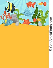 couche, etoile mer, corail, grand, fond, greend, mer, dièse