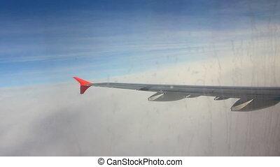 couche, nuages, avion, entrer, aile