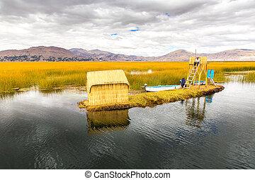 couche, une, mètres, couvert chaume, épais, flotter, amérique, dense, interweave, soutien, lac titicaca, home., pérou, formulaire, sur, deux, usines, khili, naturel, puno, îles, racine, sud