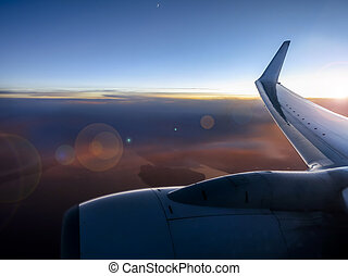 couche, vol, vibrant, coucher soleil, au-dessus, pendant, ...