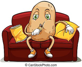 Couched potato on a red sofa eating on a white background