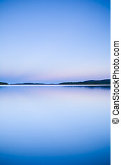 coucher soleil, à, lac