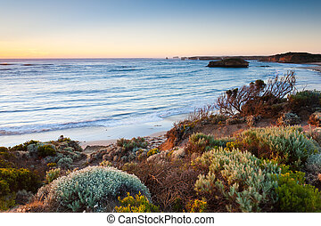 coucher soleil, à, les, baie, de, martyrs, grande route océan, australie