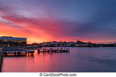 coucher soleil, à, quai, à, fishingman, sydney, australie