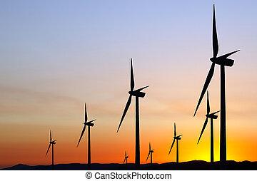 coucher soleil, énergie éolienne
