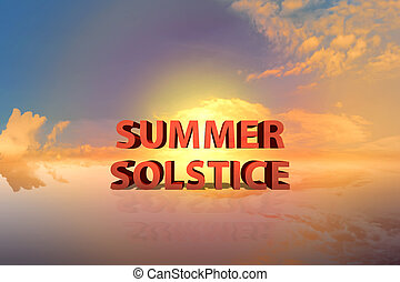 coucher soleil, été, dramatique, solstice