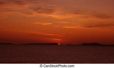 coucher soleil, île, baléare, ibiza