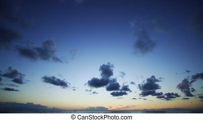 coucher soleil, île maurice, ocean., timelapse, île, exotique, sur