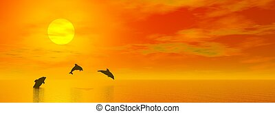 coucher soleil, 3d, -, render, dauphins