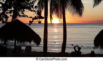 coucher soleil, 5, antilles, silhouette