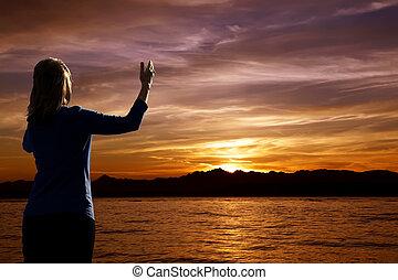 coucher soleil, adoration