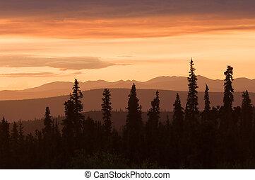 coucher soleil, alaska