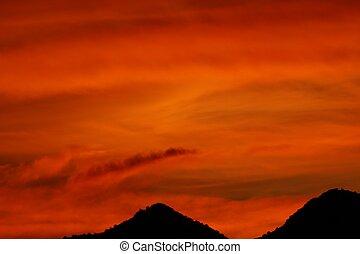 coucher soleil, ardent