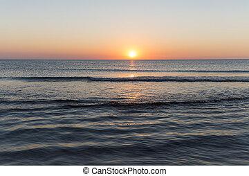 Coucher soleil, Arrière-plans, paysage,  océan
