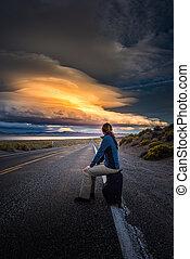 coucher soleil, auto-stop, route, désert