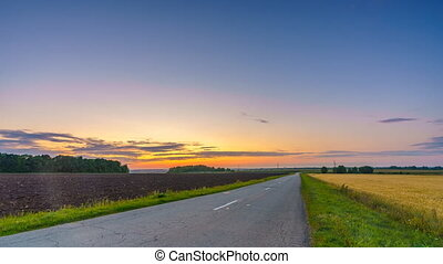 coucher soleil, automne, paysage rural, timelapse