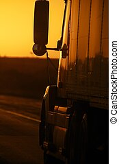 coucher soleil, autoroute