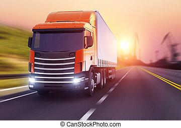 coucher soleil, autoroute, semi-camion