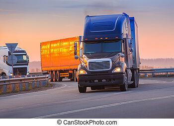 coucher soleil, autoroute, va, camions