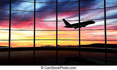 coucher soleil avion, fenêtre, voler, aéroport
