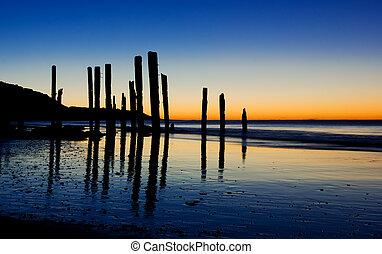 coucher soleil, bâtons