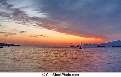 coucher soleil, baie