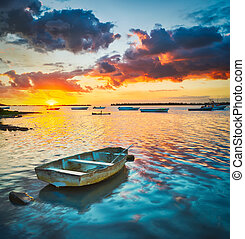 coucher soleil, bateau pêche, time.