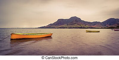 coucher soleil, bateau, time.