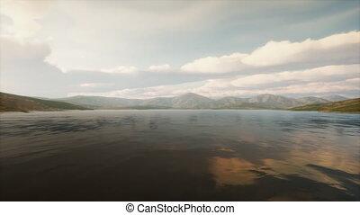 coucher soleil, beau, lac, calme