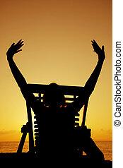 coucher soleil, bière, transat, silhouette