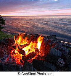 coucher soleil, brûler, grands lacs, plage