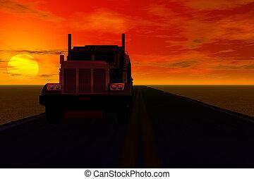 coucher soleil, camion