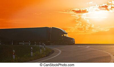 coucher soleil, camion, va, autoroute