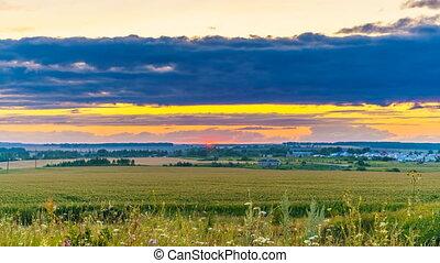 coucher soleil, campagne, 4k, -, défaillance, temps