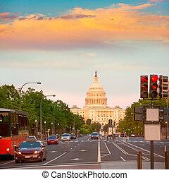 coucher soleil, capitole washington, congrès, dc