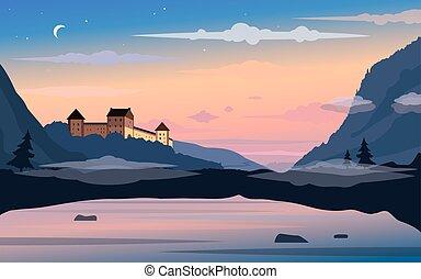 coucher soleil, château, vieux, fond