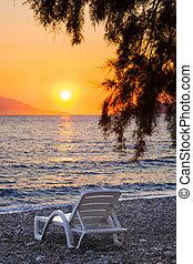 coucher soleil, chaise, plage