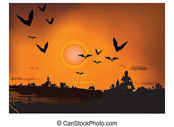 coucher soleil, chauve-souris, silhouette
