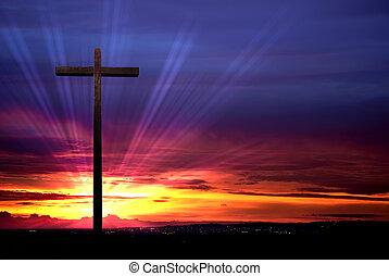 Coucher soleil, chrétien, croix, fond, rouges