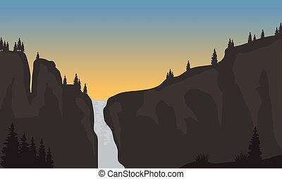 coucher soleil, chute eau, silhouette