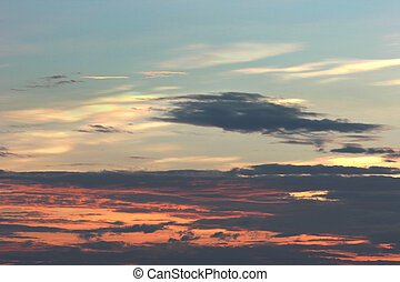 coucher soleil, ciel bleu, et, nuages, arrière-plans