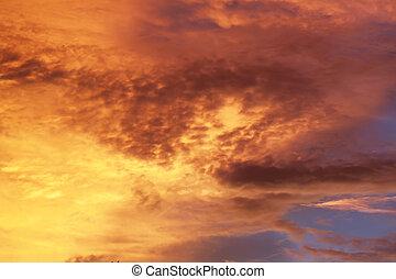 coucher soleil, ciel orange, fond