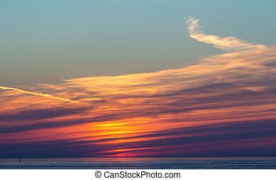 coucher soleil, clair, nuages