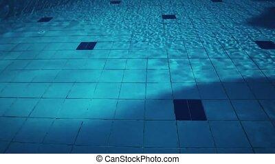 coucher soleil, clair, voyage, natation sous-marine, été, piscine, eau bleue