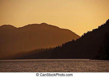 coucher soleil, collines