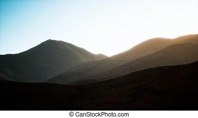 coucher soleil, collines, rochers